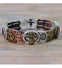 """Faith Hope Love"" Burnished Tri-Tone Stretch Bracelet #AB7545-B3T"