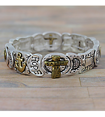 """Faith Hope Love"" Matte Two-Tone Stretch Bracelet #AB7545-WTT"