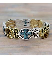 Western Tri-Tone Stretch Bracelet #AB7546-3T