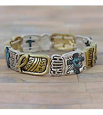 """Love Faith Believe"" Tri-Tone Stretch Bracelet #AB7547-3T"