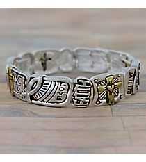 """Love Faith Believe"" Matte Two-Tone Stretch Bracelet #AB7547-WTT"