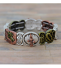 Inspirational Words Burnished Tri-Tone Stretch Bracelet #AB7548-B3T