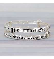 The Lord's Prayer Silvertone Double Layer Stretch Bracelet #AB7550-AS