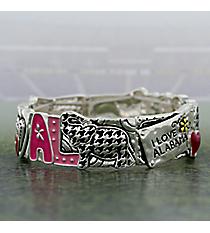 "Silvertone and Houndstooth ""I Love Alabama"" Stretch Bracelet #AB7562-ASMX"