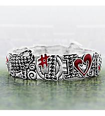 "Silvertone and Houndstooth ""I Heart 'A' Football"" Stretch Bracelet #AB7563-ASMX"