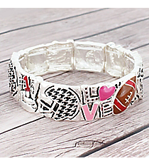 Silvertone, Houndstooth, and Pink 'Love' Football Stretch Bracelet #AB7564-ASMX