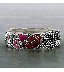 "Silvertone and Houndstooth ""Love Football"" Stretch Bracelet #AB7564-ASMX"
