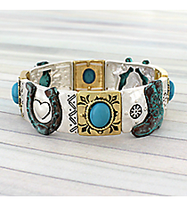 Two-Tone and Turquoise Western Stretch Bracelet #AB7606-3T