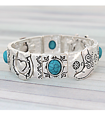 Silvertone and Turquoise Western Stretch Bracelet #AB7606-STT