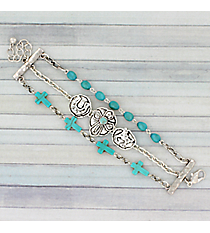 Silvertone and Turquoise Western Three-Row Bracelet #AB7665-STT