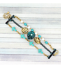 Goldtone and Turquoise Western Three-Row Bracelet #AB7665-TT