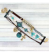 "Goldtone and Turquoise ""Be Thankful"" Three-Row Bracelet #AB7666-TT"