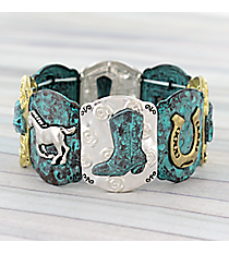 Two-Tone and Turquoise Western Stretch Bracelet #AB7674-3T