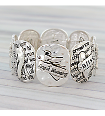 Silvertone Angel Blessing Stretch Bracelet #AB7675-STT