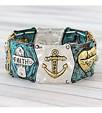 Two-Tone and Turquoise Faith, Hope, Love Stretch Bracelet #AB7676-3T