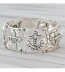 Silvertone Faith, Hope, Love Stretch Bracelet #AB7676-STT