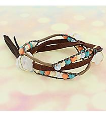 Multi-Color Bead & Quartz Wrap-Around Faux Suede Bracelet #AB7759-GMT