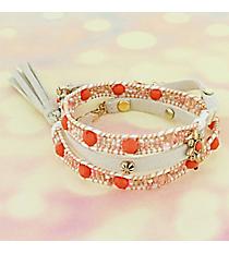 Orange Bead & Quartz with Goldtone Flowers Wrap-Around Faux Suede Bracelet #AB7761-GO