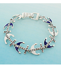 Royal Blue, White, and Silvertone Scroll Anchor Magnetic Bracelet #AB7769-ASMW