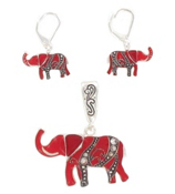 Crystal Accented Red Elephant Pendant and Earrings Set #AC0432LF-ASR