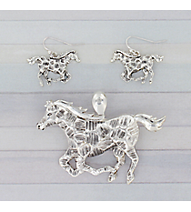 Silvertone Textured Horse Pendant and Earring Set #AC1275-AS