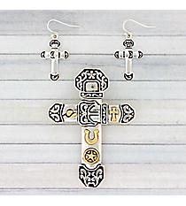 Two-Tone Western Themed Cross Pendant and Earring Set #AC1286-TT