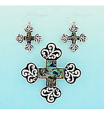 Silvertone Scroll and Abalone Square Cross Pendant and Earrings Set #AC1325-SAV
