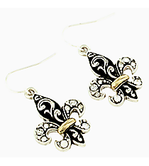 Two-Tone Crystal Scrolled Fleur de Lis Earrings #AE0286-TT