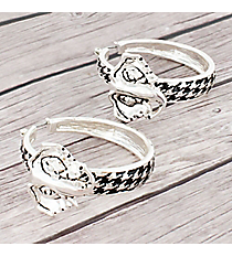 Houndstooth and Elephant Hoop Earrings with Clear Crystal Accents #AE0566-ASC