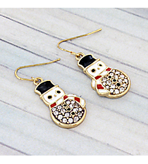 Gold and Crystal Accented Snowman Earrings #AE0984-GMX