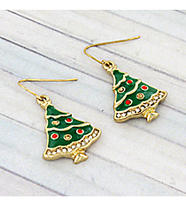 Gold and Crystal Accented Christmas Tree Earrings #AE0985-GMX