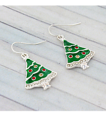Silver and Crystal Accented Christmas Tree Earrings #AE0985-SMX