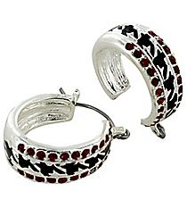 Crystal Accented Houndstooth Hoop Earrings #AE1009-ASR