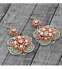 Dangling Pearl and Orange Beaded Lace Flower Earrings #AE1283-GO