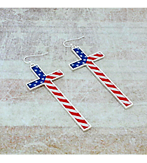 US Flag Silvertone Long Cross Earrings #AE1322-S