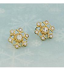 Goldtone Crystal Snowflake Earrings #AE1338-G