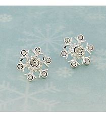 Silvertone Crystal Snowflake Earrings #AE1338-S