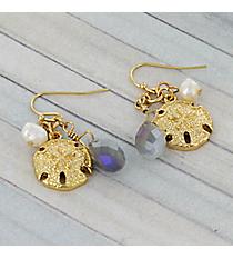 Goldtone Sand Dollar and Bead Charm Earrings #AE1375-G