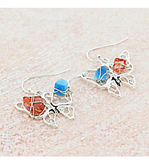 Silvertone with Blue and Burnt Orange Chip Stones Butterfly Earrings #AE1407-SMT