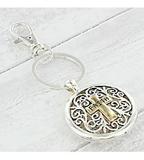 Silvertone Scroll with Goldtone 'Faith' Cross Keychain #AK0258-TT