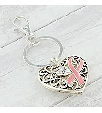 Pink Ribbon Silvertone Scroll 'Hope' Heart Keychain #AK0261-STTP