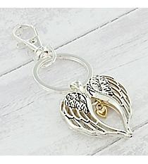 Two-Tone Angel Wings with Heart Keychain #AK0262-TT