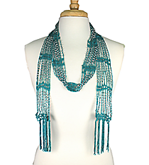 "SALE! 70"" Beaded Green Scarf Necklace #AN0432-RHE"