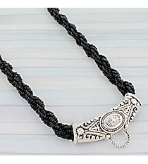 """17"""" Black Twisted Seed Bead and Silvertone Western Center Loop Necklace #AN0712-ASJ"""