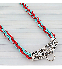 """17"""" Turquoise and Coral Twisted Seed Bead and Silvertone Western Center Loop Necklace #AN0712-ASTQCd Bead and Silvertone Western Center Loop Necklace #AN0712-ASTQ"""