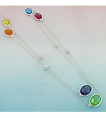 Multi-Color Faceted Oval Stone and Round Silvertone Scroll Bead Necklace #AN0790-60SMT