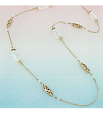 Clear Faceted Oval Stone and Goldtone Scroll Bead Necklace #AN0792-36GC