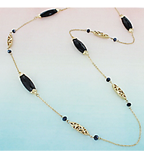 Jet Faceted Oval Stone and Goldtone Scroll Bead Necklace #AN0792-36GJ