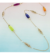 Multi-Color Faceted Oval Stone and Goldtone Scroll Bead Necklace #AN0792-36GMT