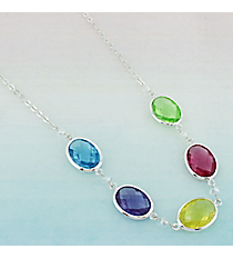 Multi-Color Faceted Oval Stone Silvertone Necklace #AN0795-SMT